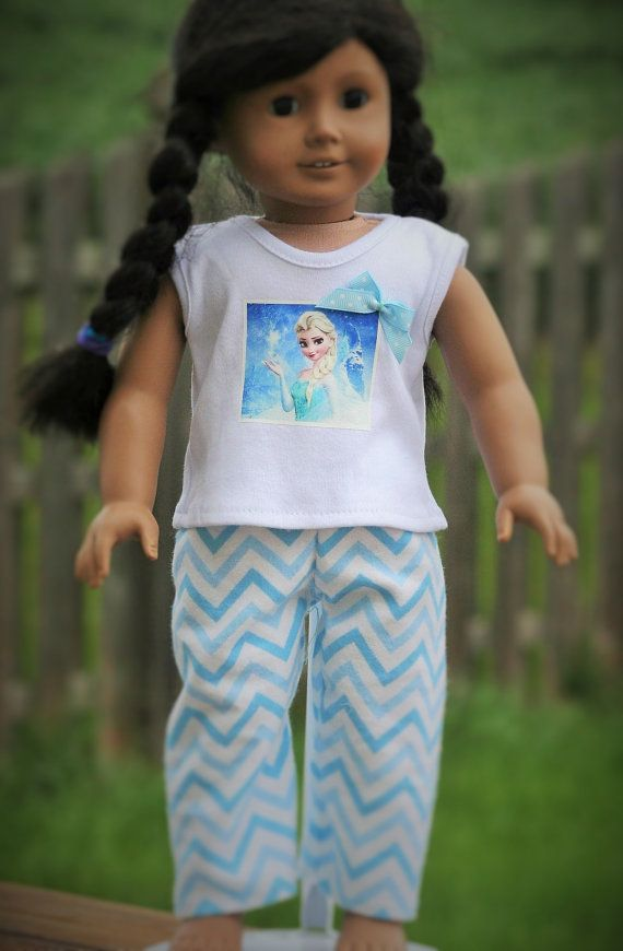 FroZen Inspired Shortie Pajamas for American by KikiDawnKreations