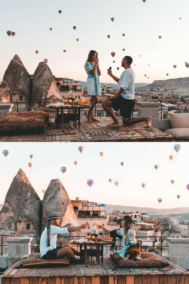 He proposed while watching hot air balloons fly over Cappadocia, and it's so romantic and unique!