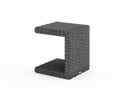 prirucny stolik z umeleho ratanu sedy