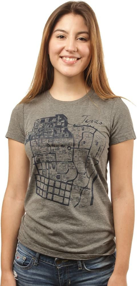 The Ladies Texas Campus Map T-Shirt makes a perfect gift for incoming UT…