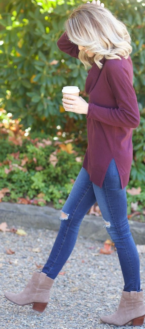 Burgundy cowl neck sweater w/side slits, ripped jeans, ankle boots