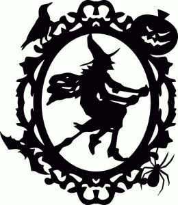 Silhouette Online Store - View Design #66020: halloween witch ornate oval frame