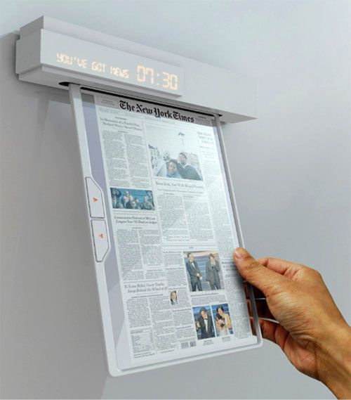 Newspaper of the future Nowadays people try to find alternatives to using paper and they come up with interesting solutions. We already saw the eRoll in this article and tablets like iPad are made in a lot of variations today but Seon-Keun Park and Byung-Min Woo came with a different idea.