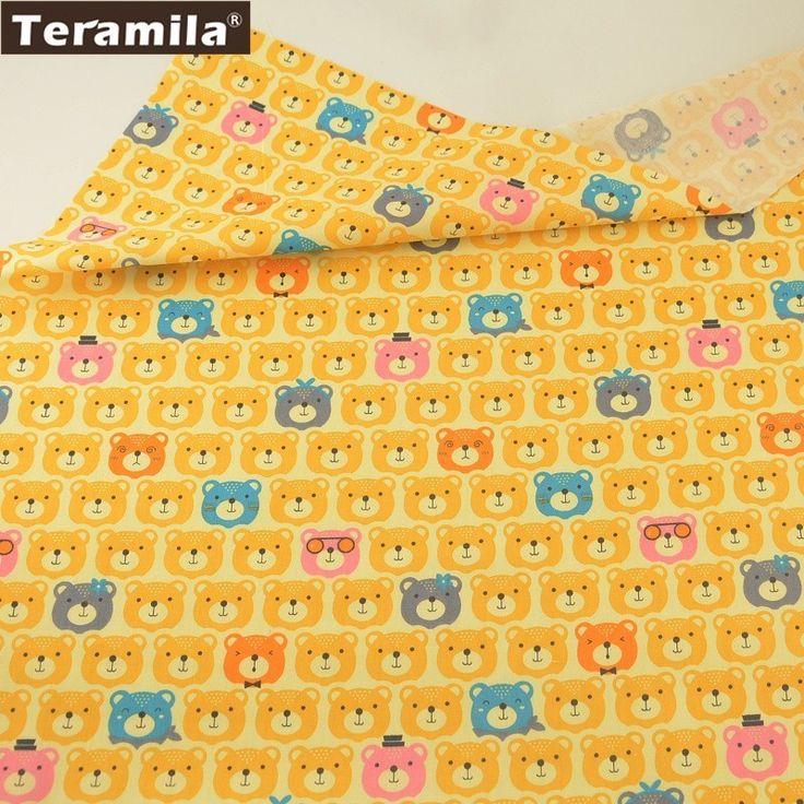 Teramila Fabric 100% Cotton Yellow Twill Material sewing Sheet Tissue Soft Printed Cartoon Beard Head Design Quilting Texitle #Affiliate