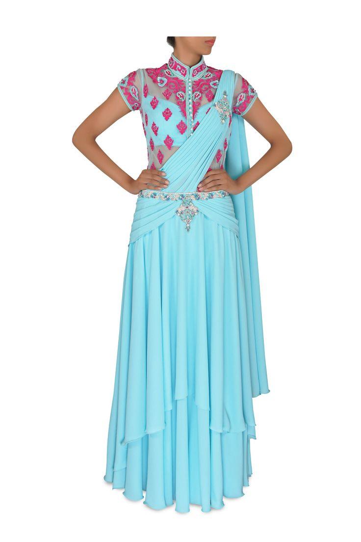 blue georgette sari gown