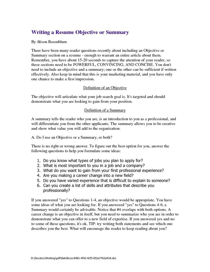 Sample Resume Objective Statements for HS Students
