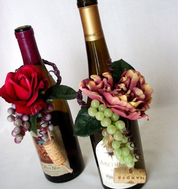 Wedding Wine Bottle Centerpiece Real Touch Rose by AmoreBride, $35.95