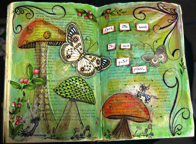 Wow! Watch the video to see how she created this beautiful art journal layout. She used paints, chalks, fixative, inks, stamps, stickers, rub ons, pens etc.