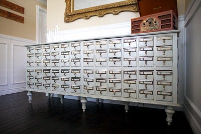 Library card catalog buffet - sharp! I have been searching for one...