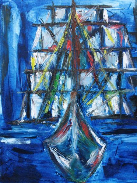 TABLEAU PEINTURE Hollandais volant Navire Marine Peinture a l'huile  - Le Hollandais volant