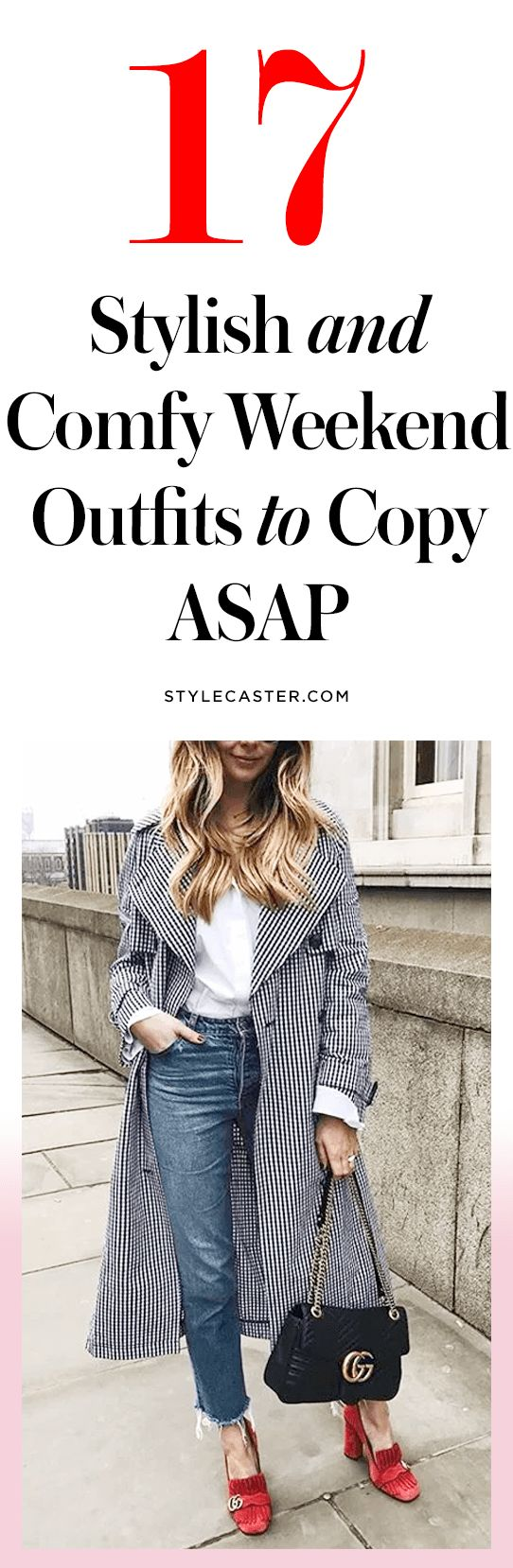 17 Stylish and Comfy Weekend Outfit Ideas to Steal | Super-casual, yet still 'grammable outfits to copy on your laziest days. No crazy heels, no insanely short skirts—just simple outfits for Saturday brunch, coffee dates, and weekend errands! Click through to see all the casual + chic looks!