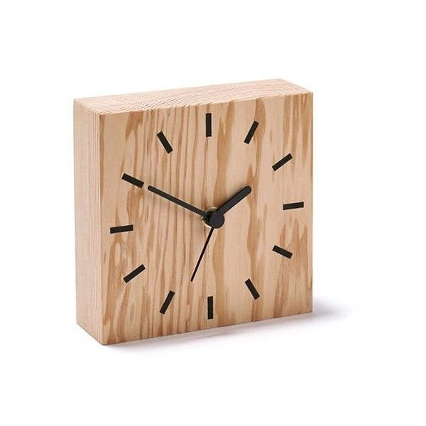 ByShop Secondary Line Wooden Clock (220 BRL) ❤ liked on Polyvore featuring home, home decor, clocks, brown, brown clock, dial clock, battery powered clock, battery clock and wooden home accessories