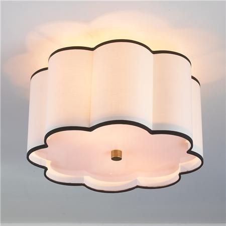 """Flower Drum Shade Ceiling Light 2 finishes!  Brass hardware and an off-white shade trimmed with black. 2x100 watts. (9.75""""Hx16""""W) 5"""" canopy.  Product SKU: FM11040 AB  Price:  $259.00"""