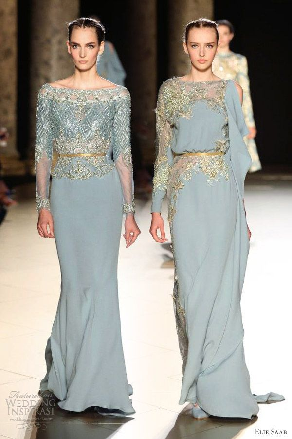 elie saab fall 2012 2013 couture powder blue gowns sleeves