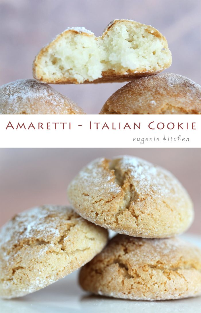 Amaretti Recipe - Italian Macaron Cookies - Gluten Free - Eugenie Kitchen egg, sugar, ground almonds, almond extract