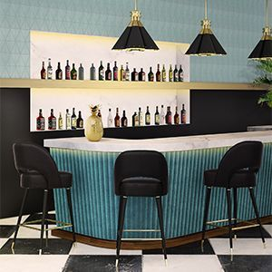 Collins is a crescent open back bar chair designed with sleek mid-century modern lines. It has glamorous glossy black legs, accented by polished brass details, especially in the bottom ferrules. It has a brass foot rail, fixed inside the four tapered legs, and is upholstered in velvet. A luxurious statement for your home furnishing.