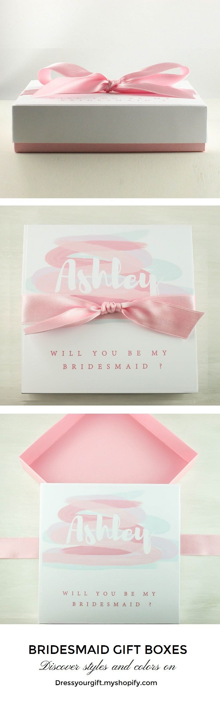 Box with lid and satin ribbon to ask your bridesmaids Will you be my .... #bridalshowergift #bridalshowerpresent #maidofhonorproposal #demoiselledhonneur #damadehonor #trauzeugin #brautjungfern