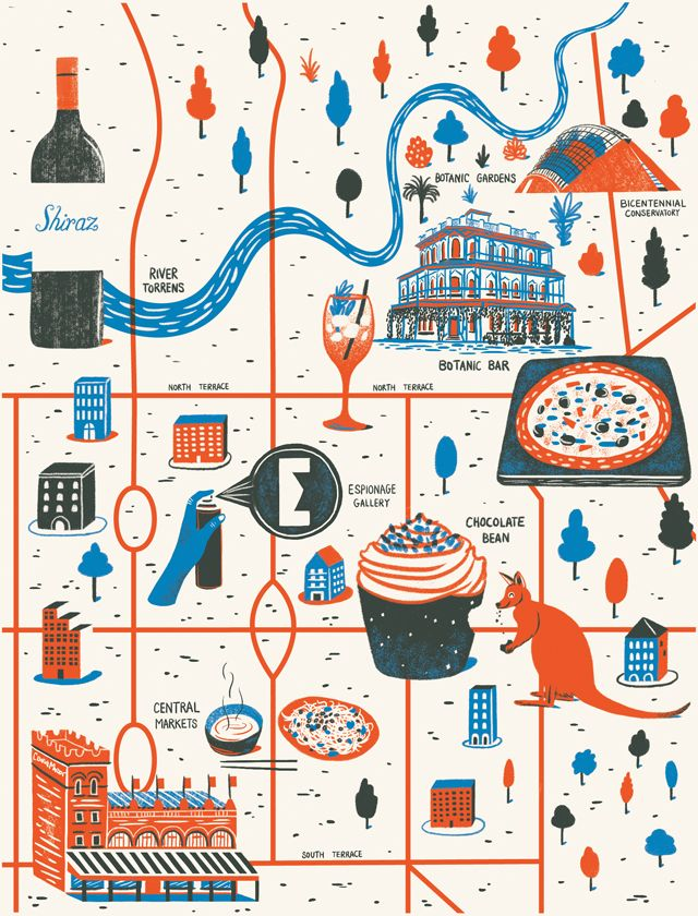 Map of Adelaide for Computer Arts magazine issue 221. Illustrated by Daniel Gray.