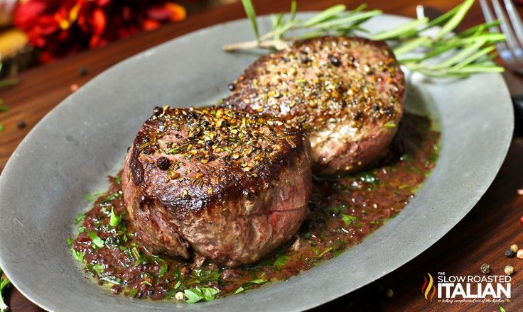 Pan Seared Filet Steaks with Red Wine Sauce are unlike any steak I have eaten before.  The outrageous flavor and 30 minute simple recipe makes tonight's dinner a special occasion worth celebrating.