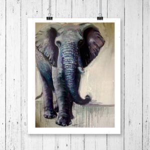 Elephant gifts for elephant lovers. Giclee print of elephant