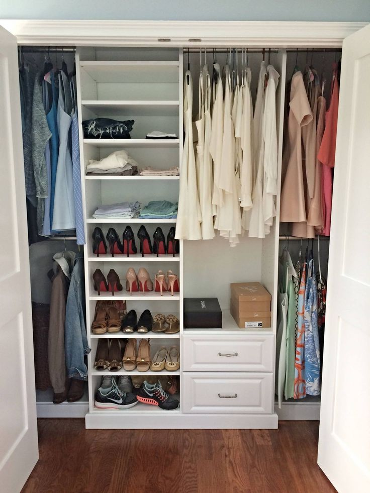A nice, simple, and affordable white melamine reach-in closet with abundant shoe storage space and ample room to hang dresses and tops.  Learn more here: https://www.closetfactory.com/custom-closets/