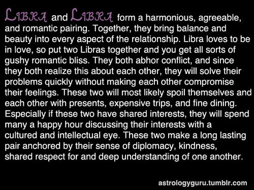 "Libra compatibility with Libra: a few exs fit this category, good overall but, not ""wow"".  Simpatico one minute, clashing the next.  No hurt feelings though."