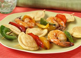 Shrimp and Pierogy Skewers  would be very good at a family get together.Yummm #MrsTsRepin2Win