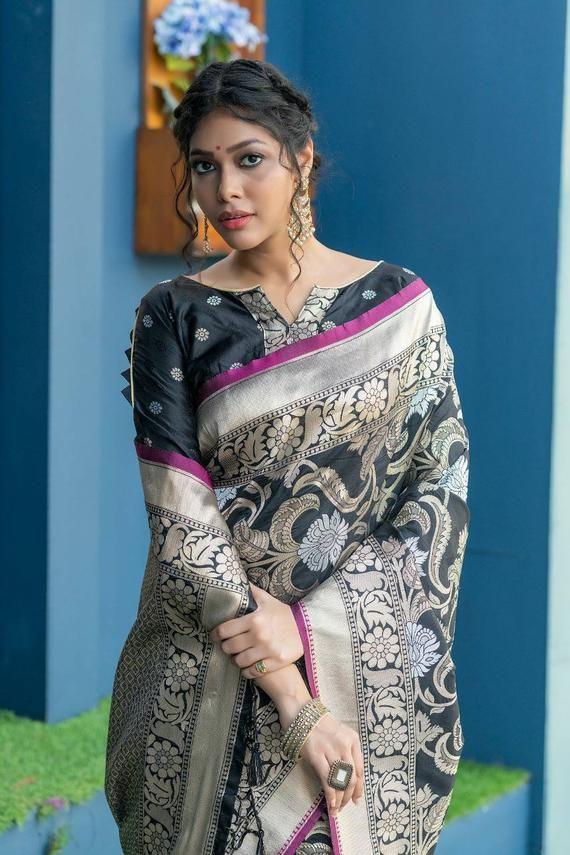 Beutiful Soft banarasi silk saree with WEAVING  silver zari SAREE sari saree for women Unsttiched blouse sarees