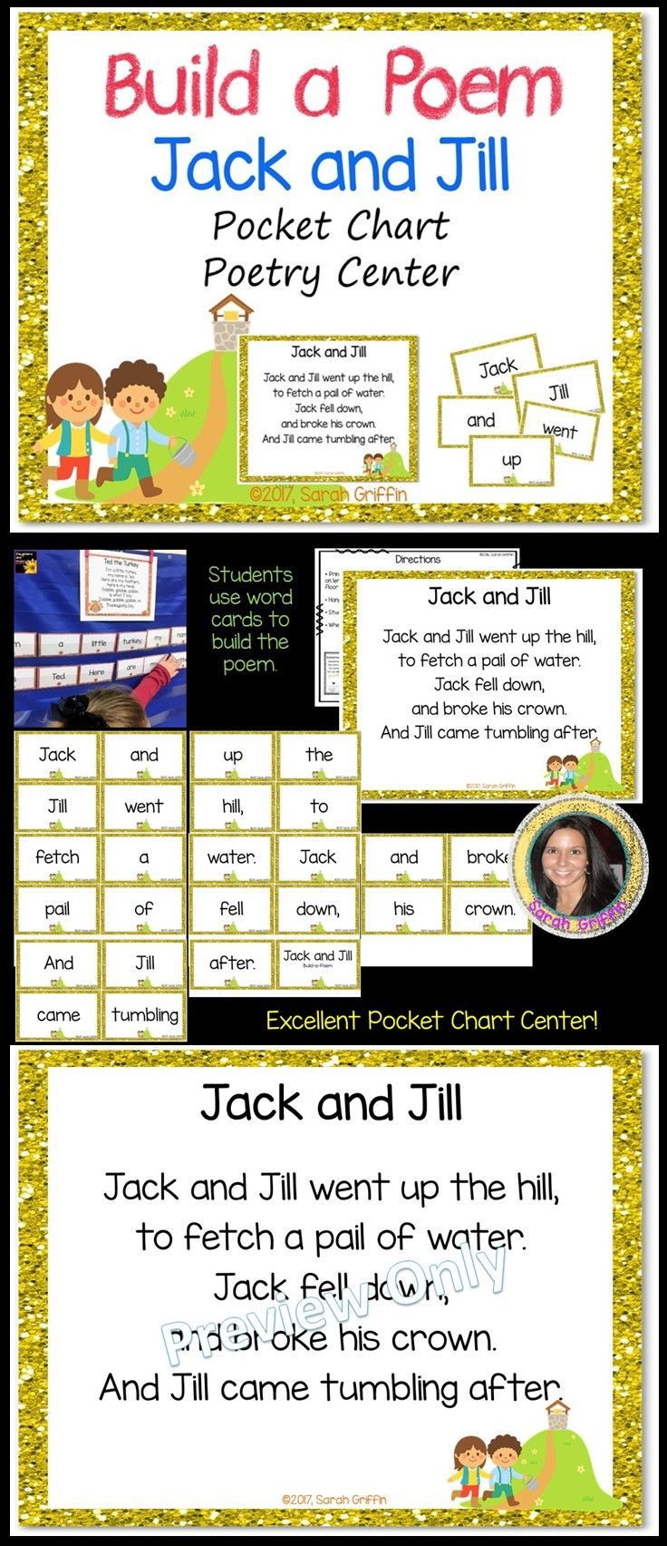Jack and Jill   Build a Poem   Nursery Rhymes   Poems for Kids   Pocket Chart Center