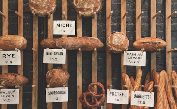 Rustic bread display at Easy Tiger's Bake Shop.