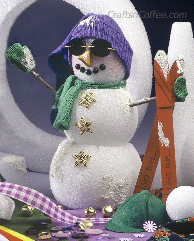 DIY Cute, Ski Bum Snowman on CraftsnCoffee.com ...
