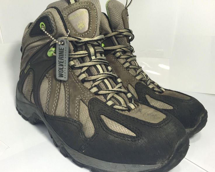 Wolverine Men's 7.5 Wide Ankle Boots Gray Black Hiking Comfort Shoes VERY NICE!