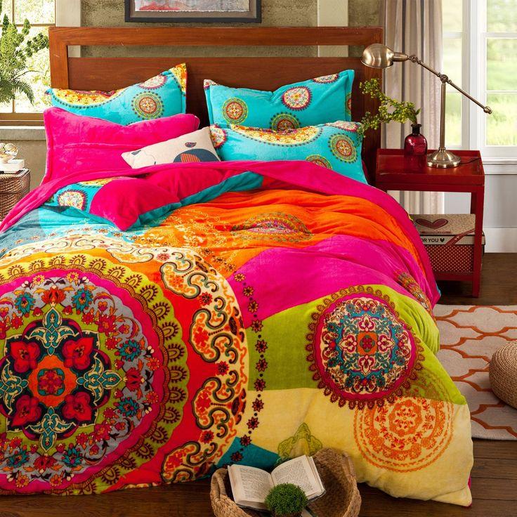 Amazon.com: Paisley Bohemian Bedding for Adult T96 Boho Duvet Cover Set Farley Velvet, Queen Set, 4 Pieces: Home & Kitchen