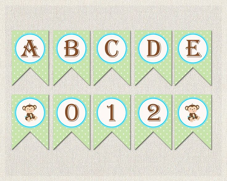 WHOLE ALPHABET Banner Blue Green Polka Dots Baby Shower Banner Bunting  | Printable Monkey Complete Alphabet Baby Shower Boy BS-131 by PixieBabyShower on Etsy https://www.etsy.com/listing/256442596/whole-alphabet-banner-blue-green-polka