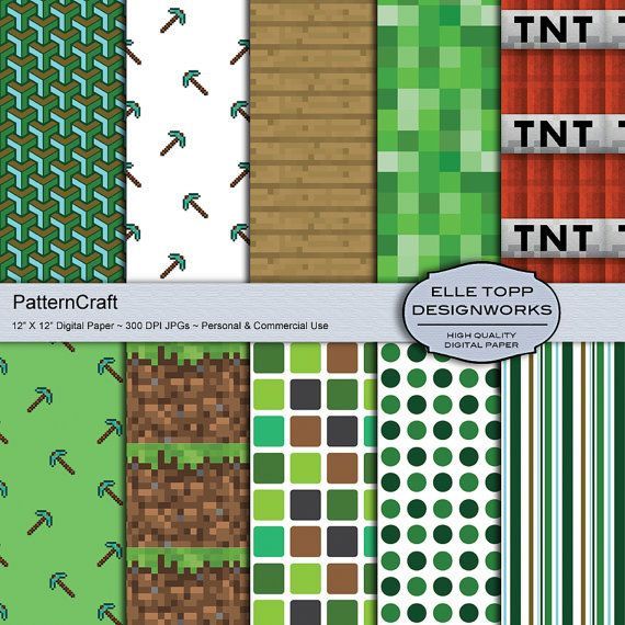 PatternCraft Minecraft inspired Digital por elletoppdesignworks, $3.90