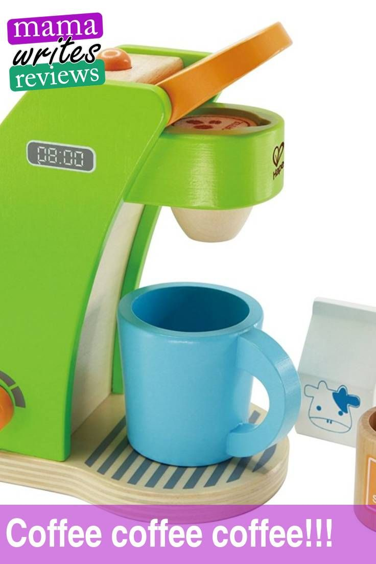 #Coffee. #Cappuccino. #Latte. #Espresso. #Americano. Whatever form it comes in, I'll take it. I LOVE my coffee. Now your #kids can join you in your morning #coffee. Here's my latest #review on the #pretend #coffee maker by #Hape #Toys