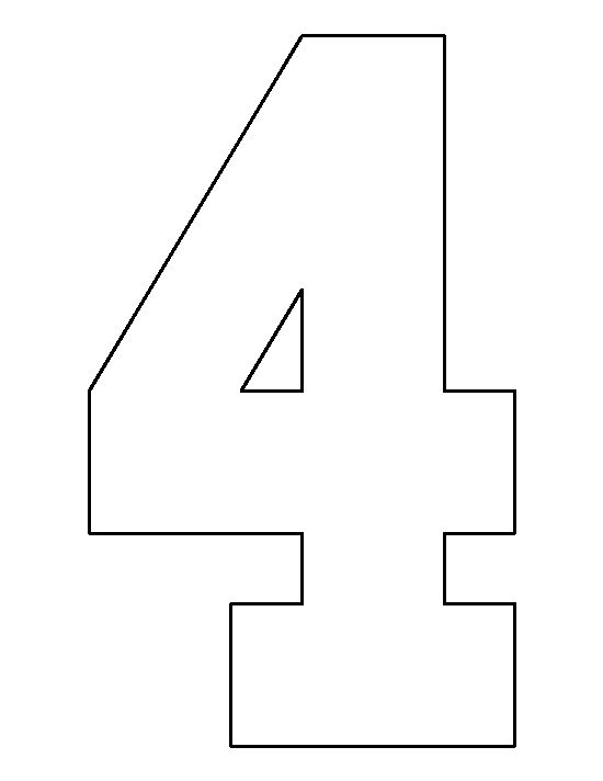 Number 4 pattern. Use the printable outline for crafts, creating stencils, scrapbooking, and more. Free PDF template to download and print at http://patternuniverse.com/download/number-4-pattern/