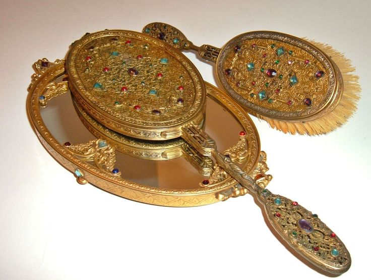 Ant 1920 S Apollo Vanity Dresser Set Jeweled Hand Mirror