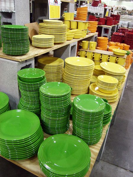 Fiestaware via Old Time Pottery...must find this place(there are two in Tampa)!