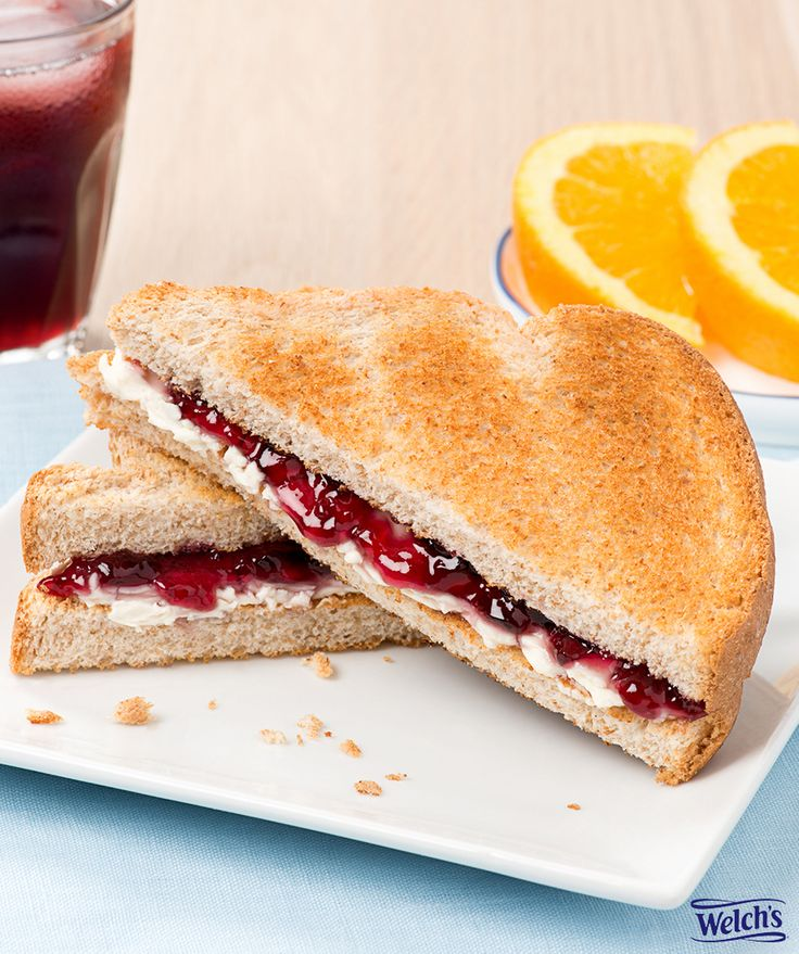 Cream cheese and jelly on toast. Simple breakfast. Welch's Grape Jelly