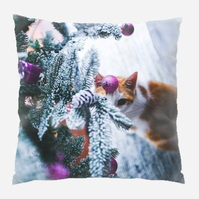 The Holiday Aisle Evalyn Cat Indoor/Outdoor Canvas Throw Pillow
