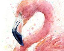 Pink Flamingo Watercolor Painting Art Print Giclee Bird Animal Wall Art Home Decor Tropical Pink Flamingo