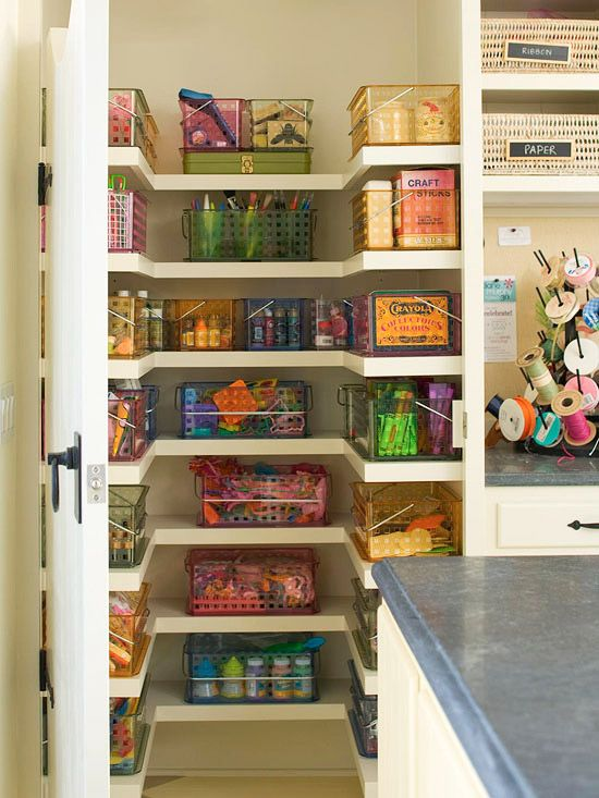 Craft Closet: For the Kids  Buy bins or baskets that are the same size and assign supplies to each. Look for plastic baskets with handles, which are easy to clean and easy to transport from closet to a work space. To prevent supply overload, sit down with your kids every few months to weed out empty bottles and dried-out markers.  Want a craft room someday!