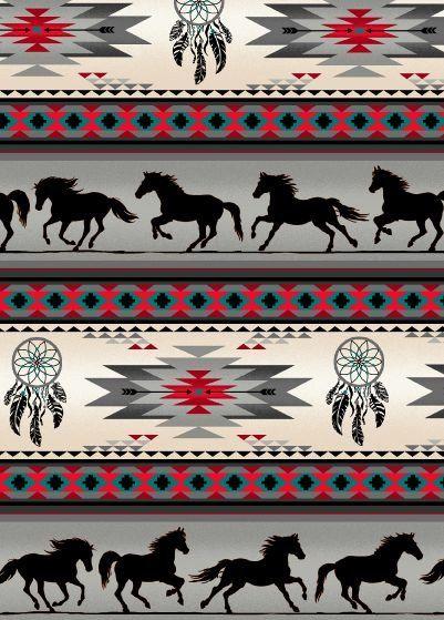 Dreamcatcher Horses - Gray Fabric