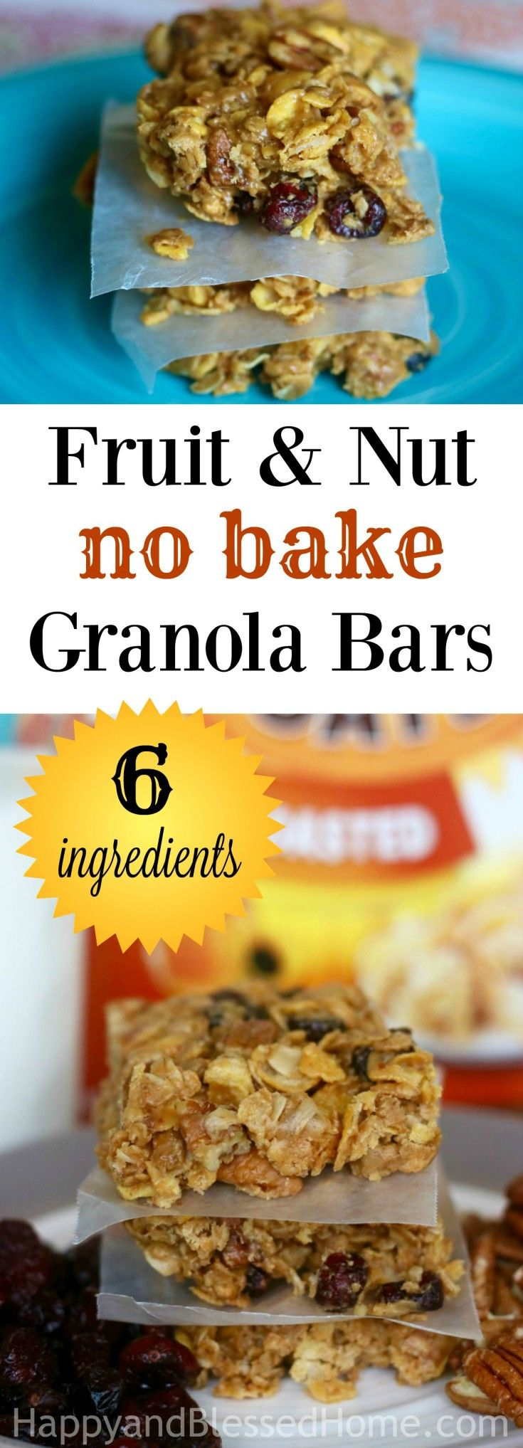 In this tasty, crunchy 6 Ingredient Healthy Fruit and Nut No Bake Granola Bars Recipe, I've revised one my most popular no bake granola bar recipes to take out the butter, sugar and corn syrup. Does it still taste great? YES! Is it lower in calories and higher in protein? YES! WOOT! Why not make-over your breakfast or snack time and enjoy these chewy cereal bars with milk? Ad #spoonfulsofgoodness