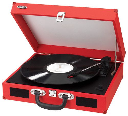 Jensen - Portable 3-Speed Stereo Turntable - Red