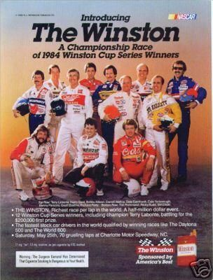 1985 The Winston All-Star Race lineup. Back row: Harry Gant, Darrell Waltrip, Dale Earnhardt, Benny Parsons. Richard Petty. Middle: Terry Labonte, Bobby Allison, Cale Yarborough, Geoff Bodine. Kneeling: Tim Richmond, Ricky Rudd, Bill Elliott.