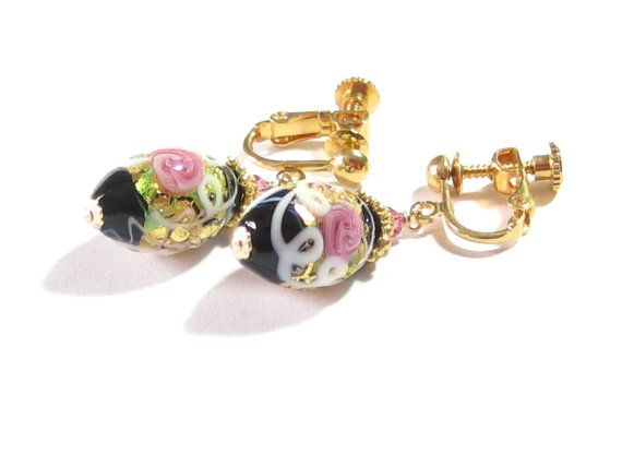 Genuine Murano Glass Pink Rose Black Oval Clip by JKCJewels