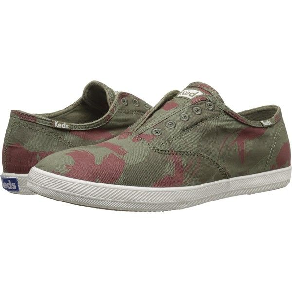 Keds Champion Chillax Washed Twill (Camo Green) Men's Slip on  Shoes ($21) ❤ liked on Polyvore featuring men's fashion, men's shoes, multi, mens shoes, keds mens shoes, mens beach shoes, mens slip on shoes and mens olive dress shoes