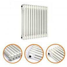 600 X 608mm White Horizontal Traditional 3 Column Radiator
